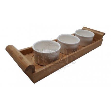 Bandeja de Bamboo x 3 Bowls