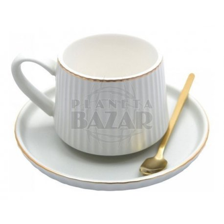 Set Café Taza + Plato + Cucharita   Crudo