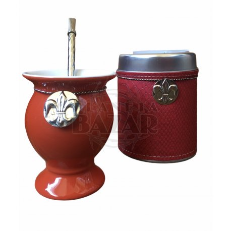 Set Mate Ceramica En Caja   Rojo