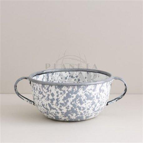 Bowl Enlozado Salpicado Gris C/Asa