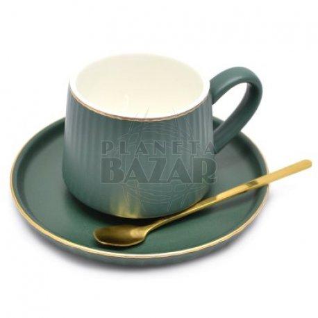 Set Café Taza + Plato + Cucharita   Verde