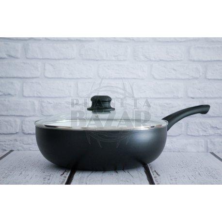 Wok Ceramica Antiadherente Con Tapa Vidrio 26Cm