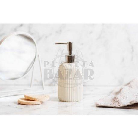 Dispenser Jabón Liquido Cerámica Simil Pieda Blanco