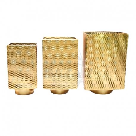 Fanal De Metal Dorado Cubico  Grande 21x14 Cm