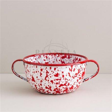 Bowl Enlozado Salpicado Rojo C/Asa 12 cm