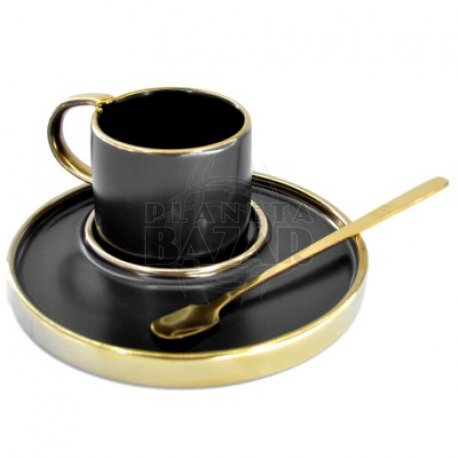 Set Mug Plato y Cucharita   Negro