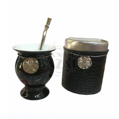 Set Mate Ceramica En Caja   Negro