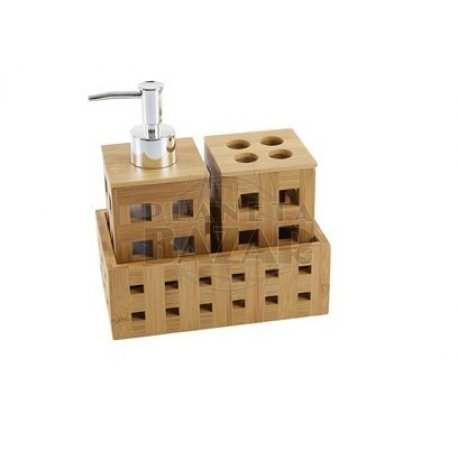 Set de Baño x 3 C/ bandeja de Bambú