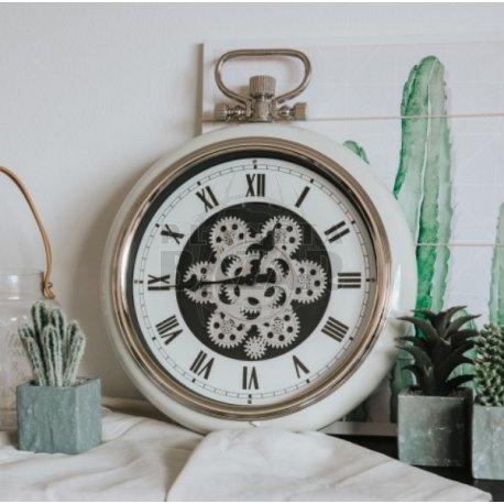 Reloj Pared Blanco Retro Con Engranajes 50 Cm