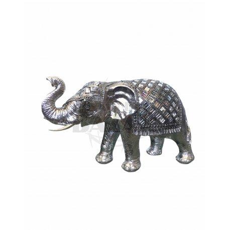 Elefante De Metal Plata 31 cm