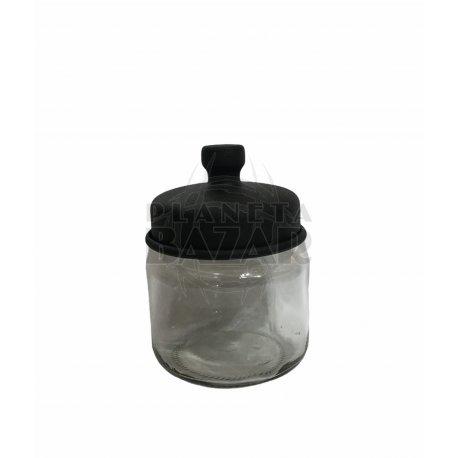 Especiero De Vidrio Con Tapa Negra
