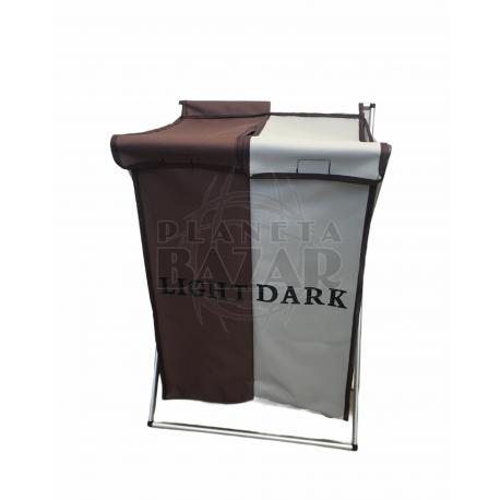 Cesto Laundry Base Aluminio Con Tapa Doble Mediano   Marron y Beige