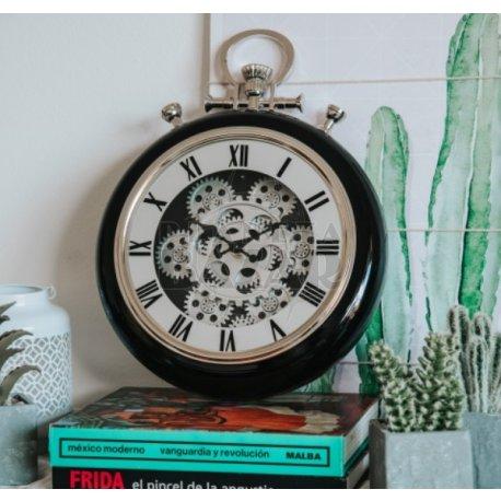 Reloj Pared Negro Retro Con Engranajes 40 Cm