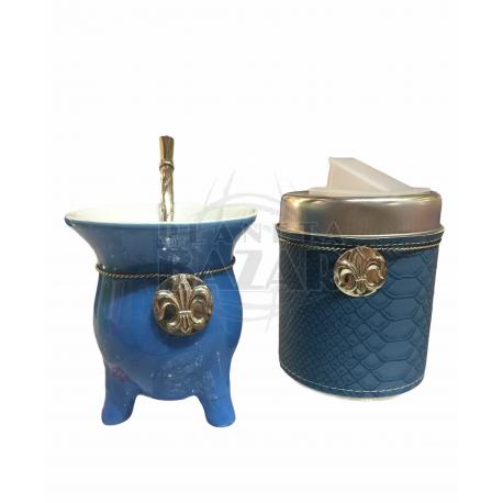 Set Mate Ceramica En Caja   Azul