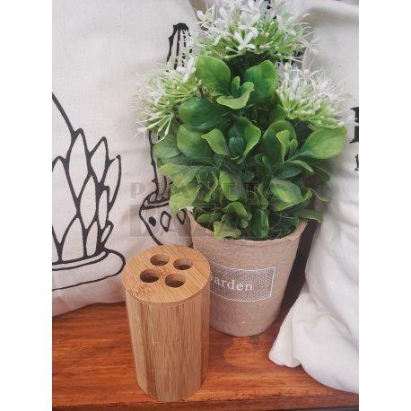 Porta Cepillo Cilindro Bambú