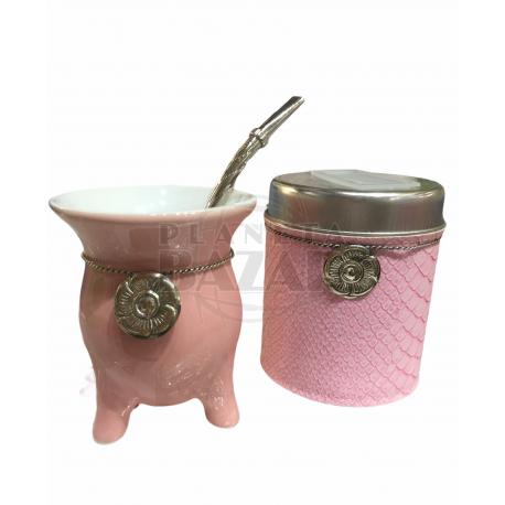 Set Mate Ceramica En Caja   Rosa