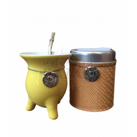 Set Mate Ceramica En Caja   Amarillo
