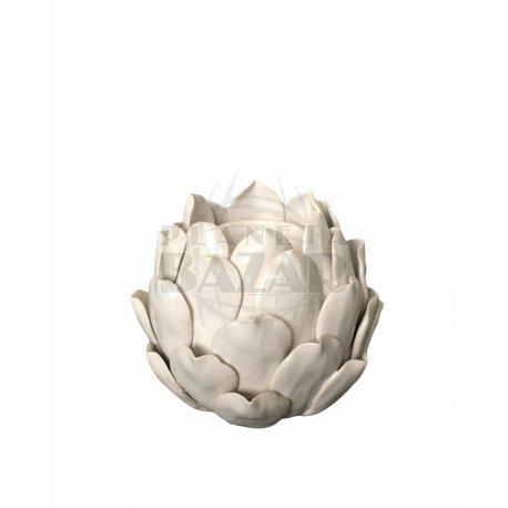 Candelabro Blanco Flor 13x13 cm