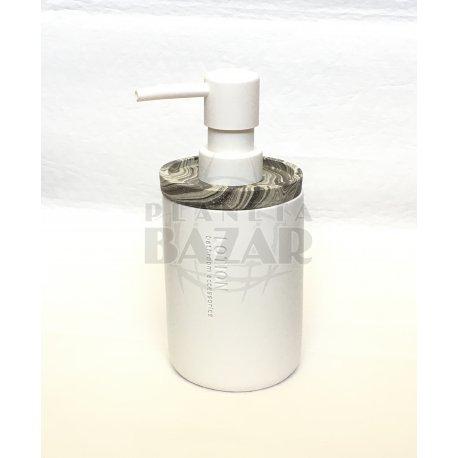 Dispenser Jabón Liquido Cerámica Blanco Y Marmol