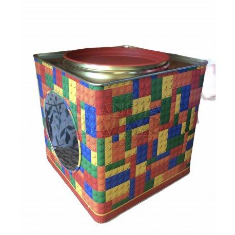 Lata Galletitas Con Visor Cuadrada | Lego